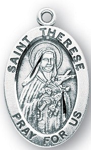 Saint Therese of Lisieux Oval Sterling Silver Medal