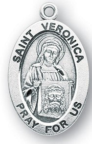 Saint Veronica Oval Sterling Silver Medal