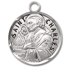 Saint Charles Sterling Silver Medal