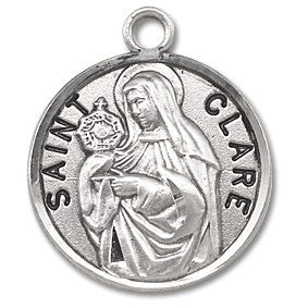 Saint Clare Sterling Silver Medal