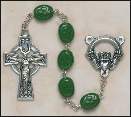 Shamrock Glass Bead Rosary