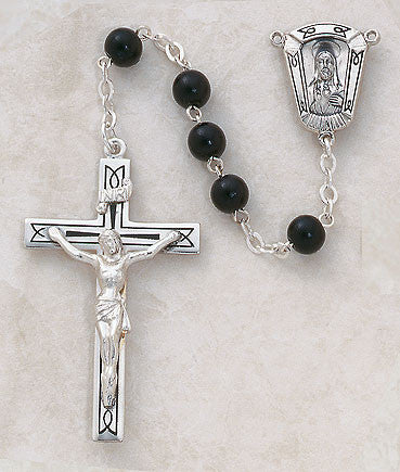 Sterling Silver Black Wood Rosary - Discount Catholic Store
