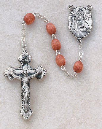 Sterling Silver Wood Bead Rosary - Discount Catholic Store