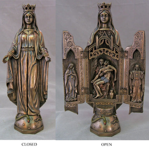 Our Lady of Grace Bronze Plated Triptych 11 Inches - Discount Catholic Store