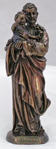 St. Joseph & Child Bronze Statue 8""