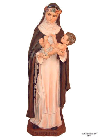 St. Rose of Lima Statue with Glass Eyes