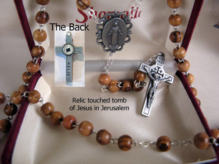 Jesus Relic Olive Wood Rosary - Discount Catholic Store