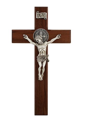Walnut St. Benedict Crucifix Various Sizes - Discount Catholic Store