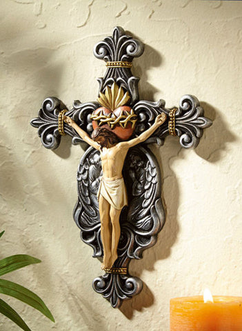 "10"" Sacred Heart Crucifix - Discount Catholic Store"