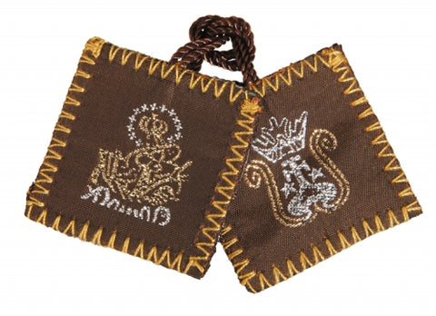 Brown Wool Scapular with Holy Water Bottle Inside