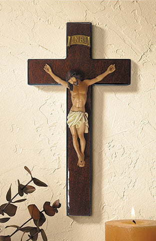 Mahogany Burlwood Crucifix - 3 Sizes - Discount Catholic Store