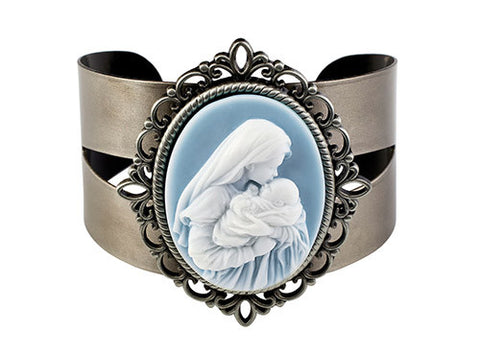 Mother's Kiss Cameo Bangle Bracelet