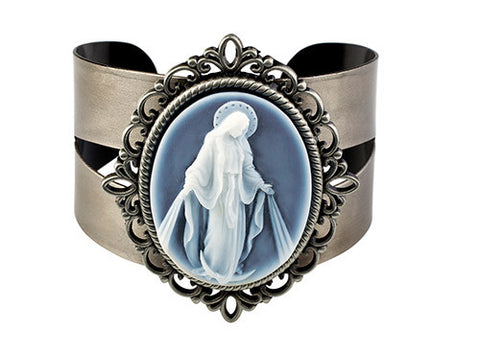 Our Lady of Grace Cameo Bangle Bracelet