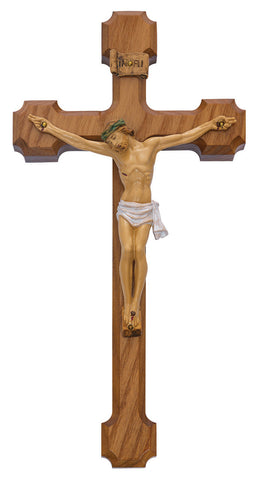 "10"" Walnut Cross with Natural Christ Figure - Discount Catholic Store"