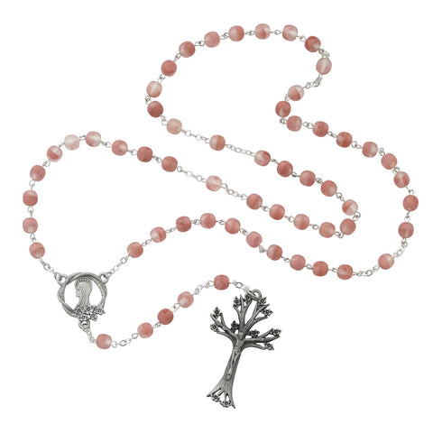 Rose Glass Dogwood Rosary - Discount Catholic Store