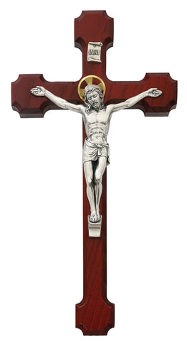 "10"" Cherry Wood Cross, Christ Figure with Halo - Discount Catholic Store"