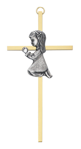 Praying Girl on Gold Cross - Discount Catholic Store