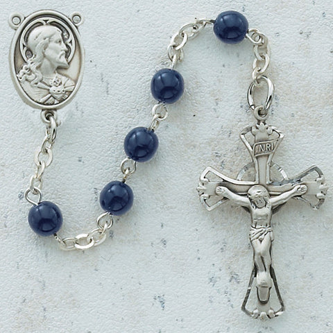 Blue Glass Bead Rosary - Discount Catholic Store