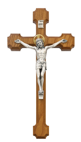 "10"" Walnut Crucifix with Gold Halo - Discount Catholic Store"