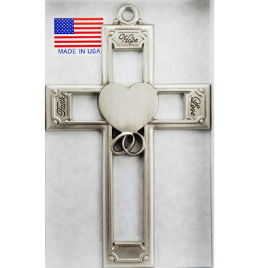 "6"" Pewter Wedding Cross - Discount Catholic Store"