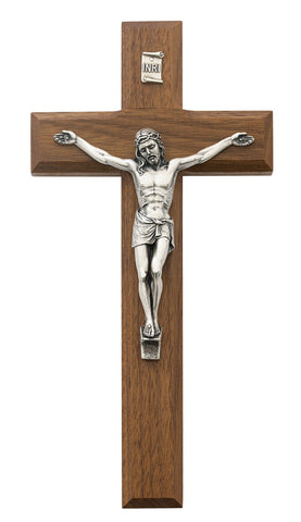 Beveled Walnut Crucifix - Various Sizes - Discount Catholic Store