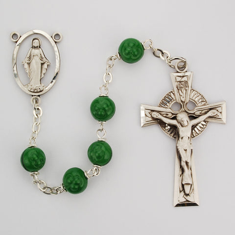 Oxidized Silver Glass Shamrock Rosary - Discount Catholic Store