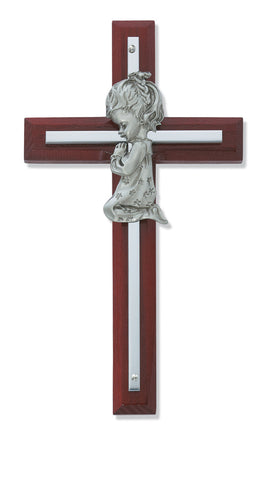 Cherry Wood Cross with Praying Girl - Discount Catholic Store