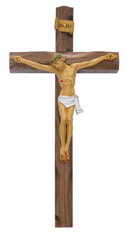 "10"" Carved Walnut Cross with Natural Christ Figure - Discount Catholic Store"