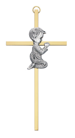 Praying Boy on Gold Cross - Discount Catholic Store