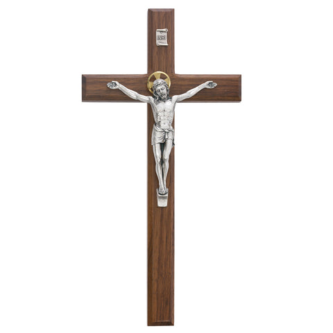 "12"" Walnut Cross, Christ Figure has Halo - Discount Catholic Store"