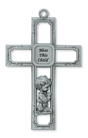 Bless This Child Wall Cross - Boy - Discount Catholic Store