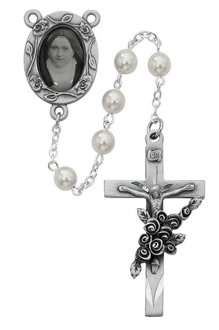 St. Therese Faux Pearl Glass Bead Rosary - Discount Catholic Store