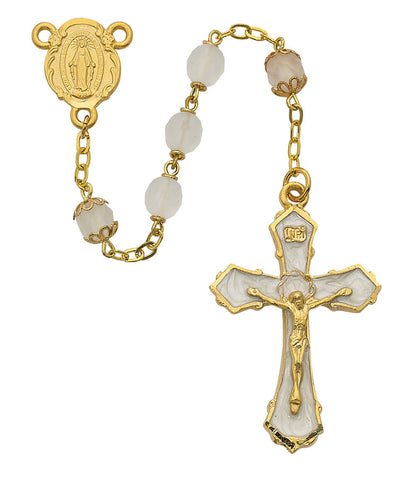 7mm Gold Frosted Glass Rosary - Discount Catholic Store