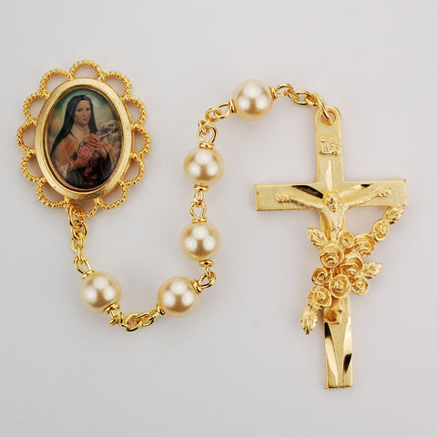St. Therese Gold Plated Faux Pearl Rosary - Discount Catholic Store