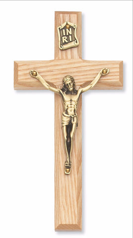 "10"" Oak Cross with Gold Tone Christ Figure - Discount Catholic Store"