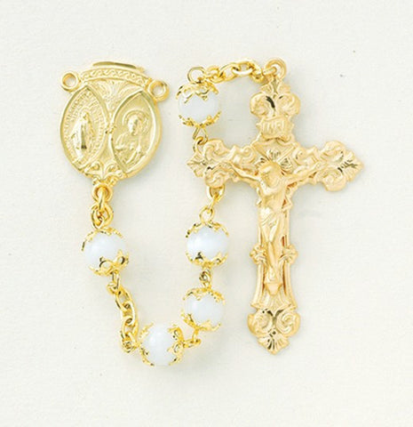 Gold Over Sterling Double Capped Imitation Pearl Rosary