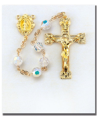 Gold Over Sterling Aurora Swarovski Crystal Rosary