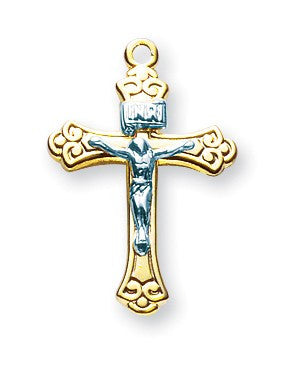 Gold Over Sterling Two Toned Tapered Crucifix
