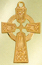 Gold over Sterling Celtic Cross 1.25 Inches