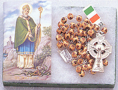 Shamrock Wood Bead Rosary - Made in Ireland - Discount Catholic Store