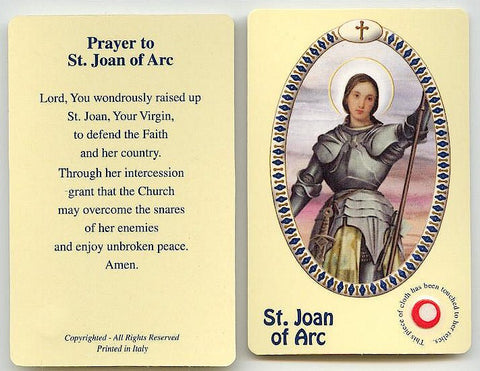 St. Joan of Arc Relic Prayer Card