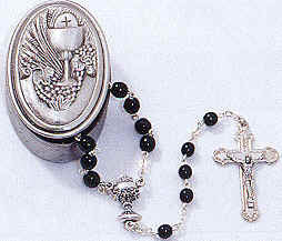 First Communion Rosary with Pewter Keepsake Box