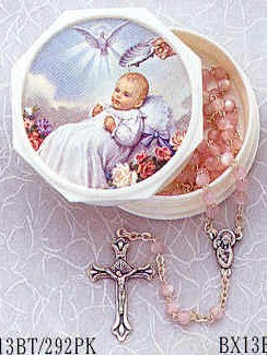"Moonstone Baptism Rosaries <br><span style=""color: red;"">Available in 3 Colors</span> - Discount Catholic Store"