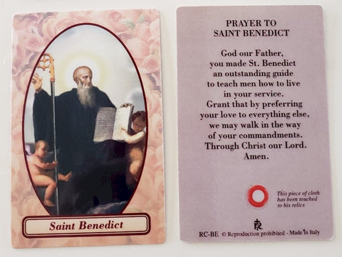 St. Benedict Relic Prayer Card