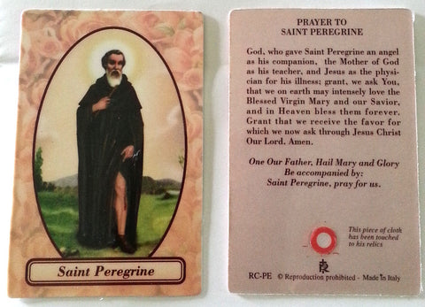 St. Peregrine Relic Prayer Card