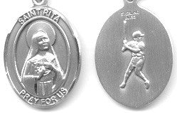 "St. Rita / Baseball  <br> Sterling Silver 1"" - Discount Catholic Store"