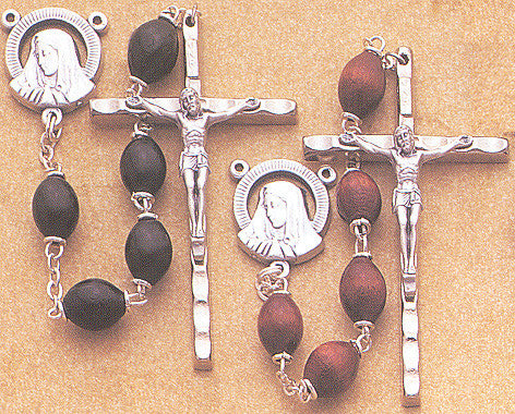 Wood Oval Bead Rosaries - Discount Catholic Store