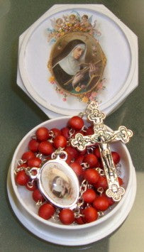 St. Rita<br>Wood Bead Rose Scented Rosary - Discount Catholic Store