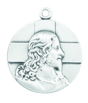 "Sterling Silver Profile of Jesus Medal on a 20"" Chain. This Medal Comes in a Deluxe velour Gift Box."
