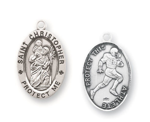 Saint Christopher Oval Sterling Silver Football Athlete Medal